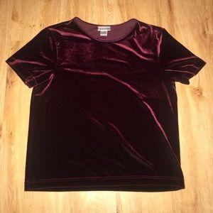 Deep red velvet shirt